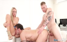 Blonde Slut Twisting With Two Lusty Bisexuals