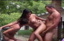 Sexy Latina girl with two bisex guys