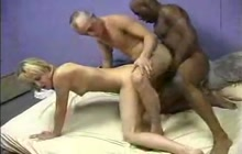 Horny couple have fun with black man