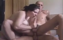 Big tit brunette enjoys FMM bisex threesome