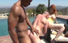 Interracial bisexual threesome by the pool